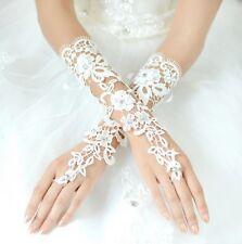 Brauthandschuhe fingerlos Braut Handschuhe Pailletten Strass Hochzeit Weiß Ivory
