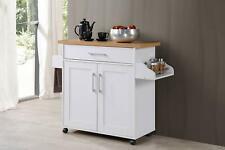 Portable Serving Cart Kitchen Spice Rack Utility Island Storage Furniture Wooden