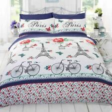 C'EST LA VIE PARIS RED BLUE DOUBLE DUVET COVER SET BEDDING BICYCLES EIFFEL TOWER