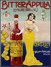 Bitterappula Liquor Beer Champagne, Wine Advertisement European Art Poster Print