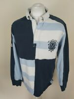 Mens Crew Clothing Long Sleeve Rugby Polo Shirt Blue Large 44 Chest