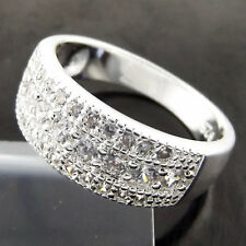 RING REAL 925 STERLING SILVER S/F LADIES DIAMOND SIMULATED BAND US 8 FS3B027
