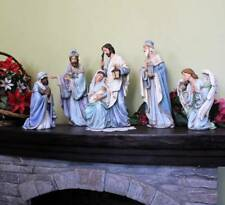Nativity Set 5pc Shades of Blue 15 inch Indoor Outdoor Garden Statues