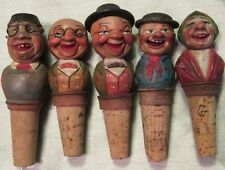 """LOT OF 5 VINTAGE CARVED WOOD SMILING CORK BOTTLE STOPPERS, 4"""" to 5"""",  USED - VG"""