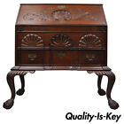 19th C Chippendale Style Mahogany Block Front Shell Carved Secretary Desk Lowboy