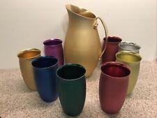 New listing Vintage Gold Mirro Aluminum Set Pitcher & 8 Colorful Glasses Frost Barrel Shape