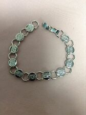 Sarah Coventry Vintage Silver Tone Small Circle Links w/Flowers Bracelet Mint