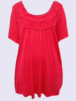 NEW RED Short Sleeve Ruched Neck Jersey Tunic by OKAY Sizes UK 18/20 to 24/26