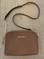 Michael Kors Brown Jet Set Large Saffiano Leather Crossbody Bag