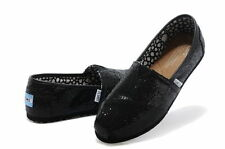 AUTHENTIC Toms Womens Classic Slip-On Glitter Flat Shoes Black-Silver Sz 9.5 NWT