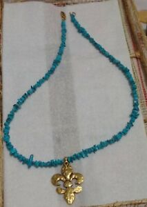 """TURQUOISE VINTAGE BEADED NECKLACE 16"""" beads TURQUOISE PENDANT GF clasp"""