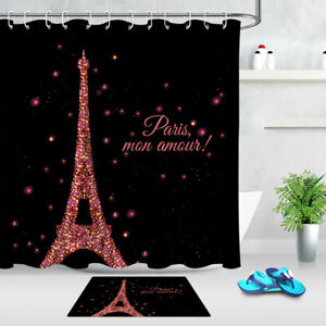 Black Background Neon Abstract Paris Eiffel Tower Bath Fabric Shower Curtain Set