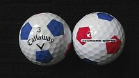 """10 CALLAWAY  """"CHROME SOFT"""" - with """"RED & BLUE TRUVIS"""" -Golf Balls- """"MINT/PEARL"""""""