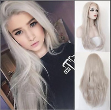 """24"""" Heat Resistant Lace Front Wig Synthetic Hair Natural Straight Light Gray"""