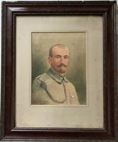 Portrait eines Soldaten 1918 WK1 Militaria Aquarell Müller Fraustatt 51,5 x 42,5