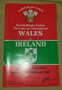 Vintage Programme Welsh Rugby Union, International, Wales V Ireland, 1991, C.A.P