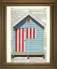 BEACH HUT, RED WHITE & BLUE COASTAL SEASIDE ANTIQUE DICTIONARY PAGE ART PRINT