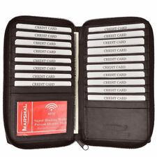 994cf2124 Bloqueo de señal RFID Marrón Cuero Billetera soporte de tarjeta de  cremallera alrededor de la cubierta de chequera