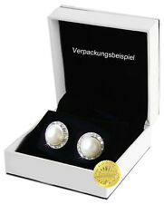 Perlen, Ohrringe mit Kristallrand und Clipsen inkl. Schmuckbeutel