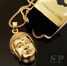 """Pendant w/ 24"""" Round Box Chain Necklace New Gold Stainless Steel 3D Buddha Head"""
