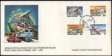 Malasia 1987 de transportes y comunicaciones década Fdc Primer Día cubierta #c 29998