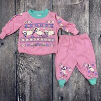 Vintage Andover Togs Baby Set 6/9 months Puffy Paint Sweatshirt Sweatpants Sheep