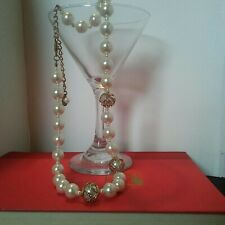 RSVP Pretty Pearlike necklace with goldtone and rhinestone wrapped accent beads