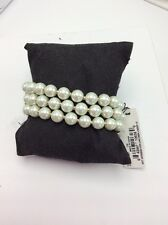 "Ann Klein  ""Pearl Manor"" Gold-Tone/Blanc Pearl 3 Row Stretch $38 #812"