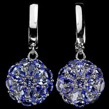 Sterling Silver 925 Genuine Natural Blue Violet Tanzanite Round Dangle Earrings