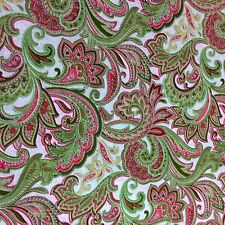 Art Deco Green Paisley Cotton Fabric Quilting Patchwork Craft Material 1/2 Yard