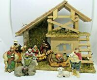 Vintage 10 piece Porcelain Nativity Set with Creche