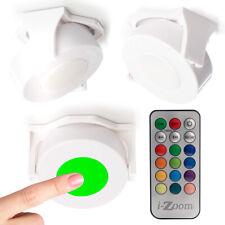 3pk-cor mudando Giratória Puck Luzes Sem Fio Controle Remoto Dimmer Timer sob armário
