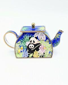1999 KELVIN CHEN Enamel #1852 Miniature TEA POT Mother Baby PANDA