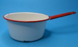 Vintage Enamel Saucepan White w/Red Trim WELL WORN CHIPPY farmhouse decor