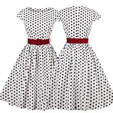 Womens Retro Polka Dot Swing Tea Dress Rockabilly Housewife Pinup Party Costume
