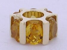 Bd081 - Genuine 9ct Yellow Gold NATURAL Citrine Bead Charm for European bracelet
