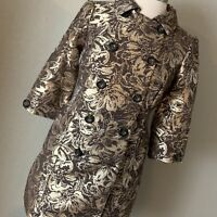 Kenar Gold Brocade Coat Dress Jacket Blazer, Size Small