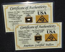 x2 ACB GOLD 1/4GRAIN 24K SOLID BULLION MINTED BAR 9999 FINE CERT/AUTHENTICITY