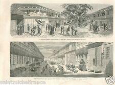 Street District Yukaku Shin Yoshiwara Edo Tokyo Japon Japan GRAVURE PRINT 1869