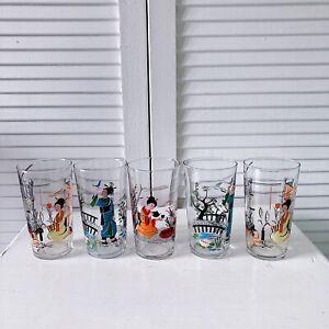 Vintage Glasses Tumblers Midcentury Japanese X 5 Traditional Woman Display