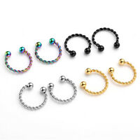Stainless Steel Twist Bar Cheater Septum Helix Cartilage Stud Fake Nose Ring