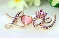 "Beautiful Golden 2"" Pink Rhinestone Love Pin Brooch With Heart Fashion Jewelry"