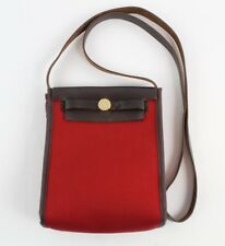 Hermes Red Canvas Brown Leather Trim Single Strap Crossbody Bag