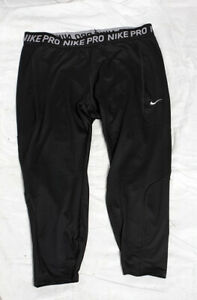 NIKE Pro Leggings 3/4 Length Cropped Black 2X Running Gym Excellent Condition!