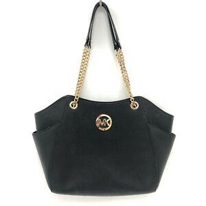 Michael Kors Jet Set Travel Tote Handbag Black Gold Chain Shoulder Bag 241383