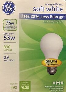 4 GE 53-Watt / 75-Watt Output Energy-Efficient Soft White A19 Bulbs 890 Lumens