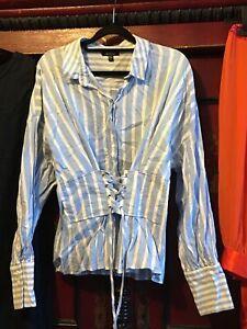 Blue White Stripe Corset Shirt Topshop Size 14