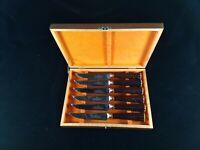 Mid Century Westall Richardson Steak Knives w/Faux Stag Handles - Set of 6 w/Box