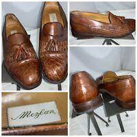 Mezlan Genuine Crocodile Tassel Loafers Shoes 9.5 Brown Spain Cap Toe YGI K0S-12