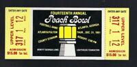 VINTAGE 1981 NCAA PEACH BOWL FULL UNUSED TICKET FLORIDA GATORS vs WEST VIRGINIA